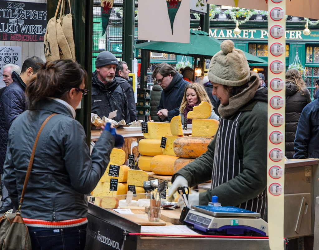 Borough Market is the oldest food market in London, a lively place worth a visit for seeing and trying