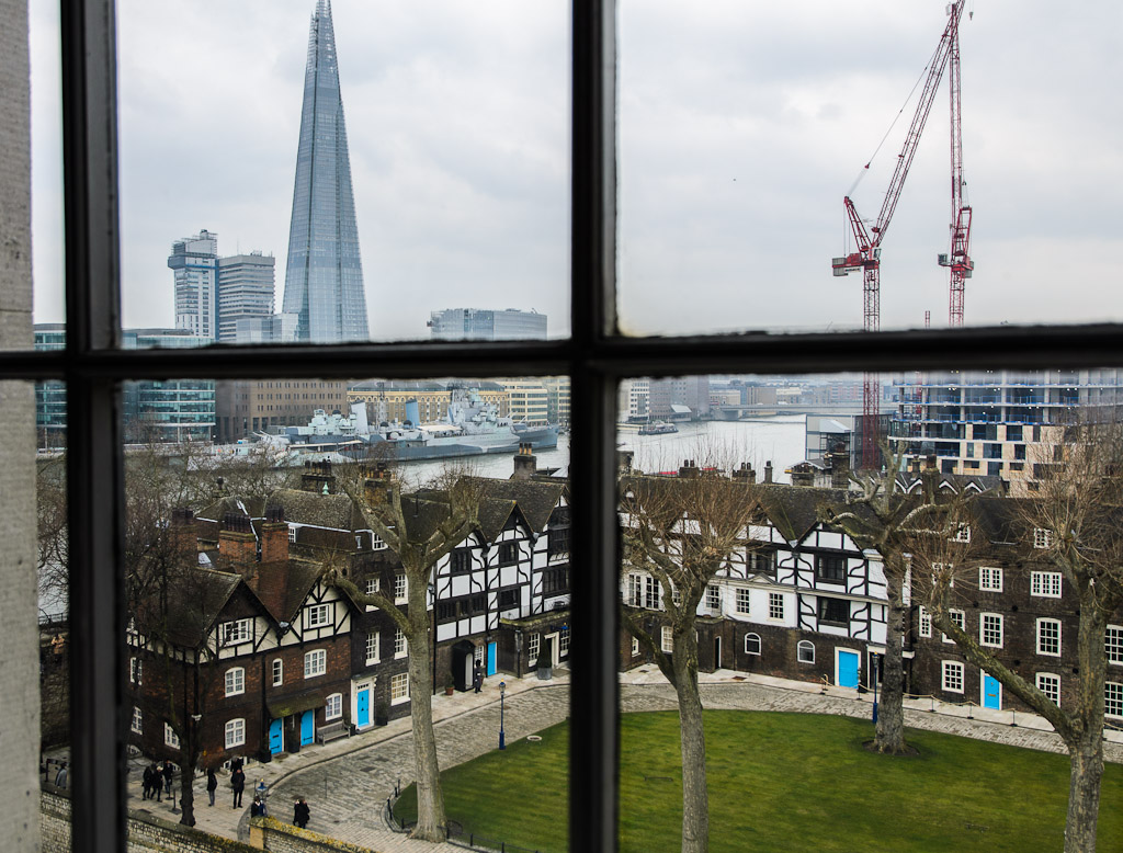 The Shard: the new mega-project, is the tallest building in the European Union, and the second-tallest in Europe. Just above old houses in the Tower of London ward