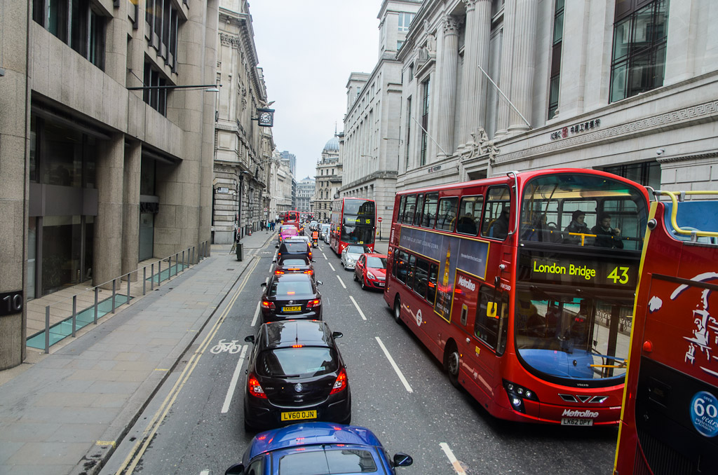Central London on Saturday noon with heavy traffic