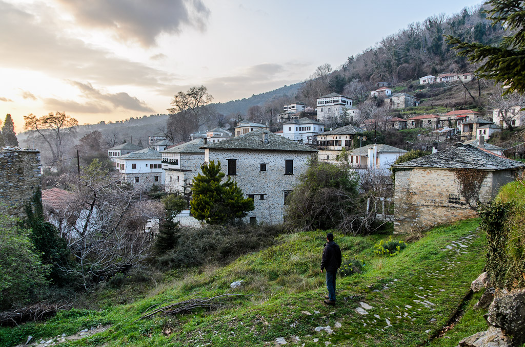 View of Vyzitsa (Βυζίτσα), a very-well preserved and protected by law traditional village. Built at 540m, there are many of the typical Pelion three-story traditional stone houses (αρχοντικά).