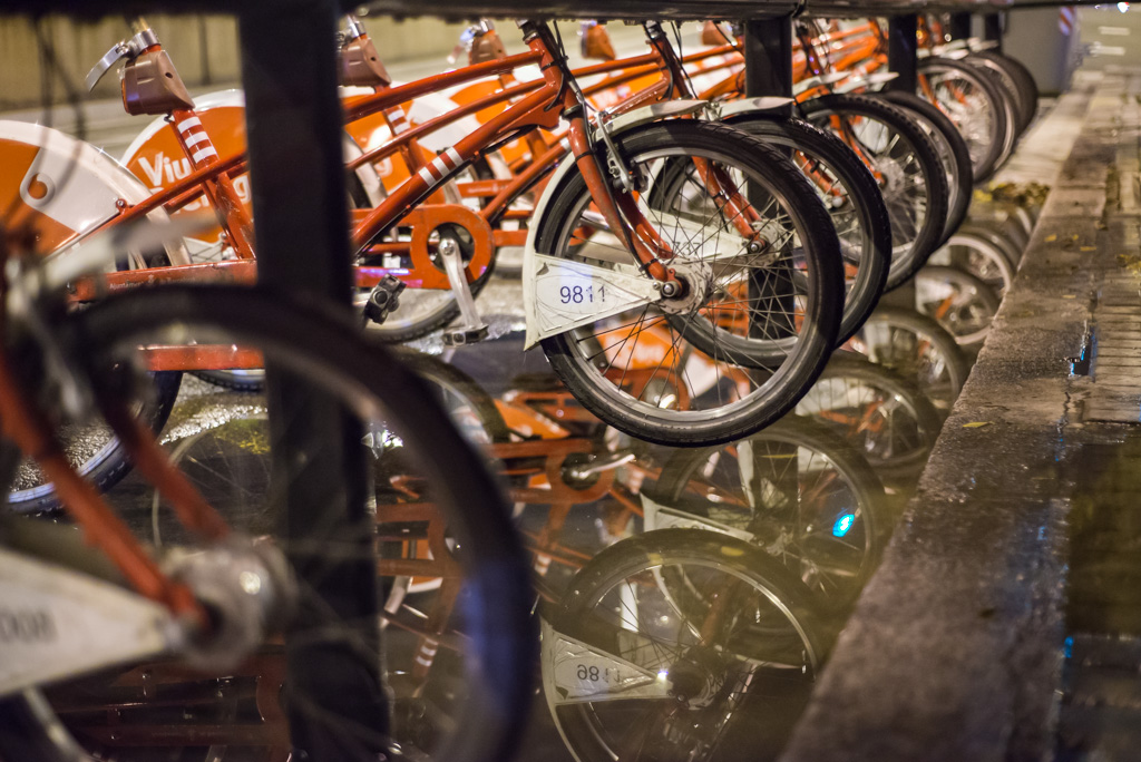 Bicycles parking in Barcelona at night