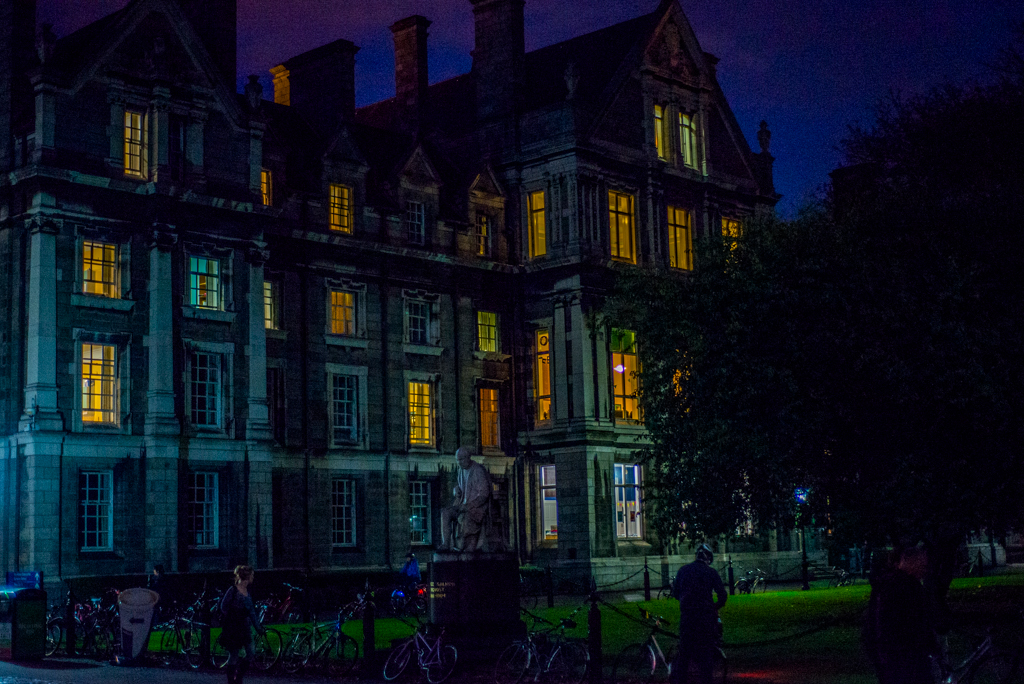 Trinity College building at night