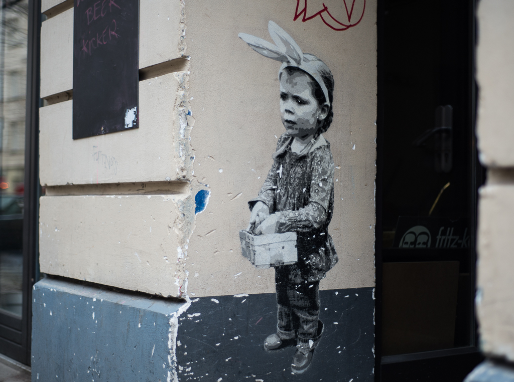 Sad Girl with Rabbit Ears Mural by Boxi