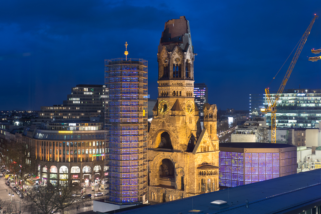 Kaiser Wilhelm Memorial Church in West Berlin from the unique Monkey Bar at the 25hours Hotel