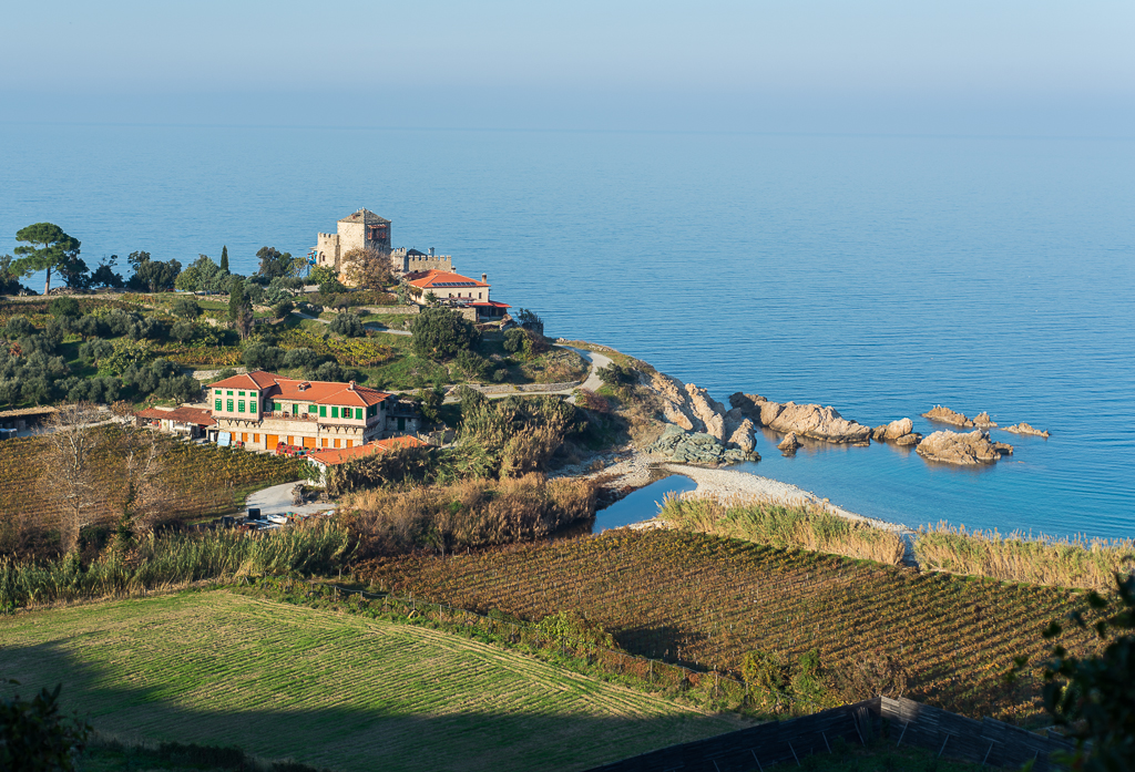 Mylopotamos area, where the famous red Mount Athos wine is made.