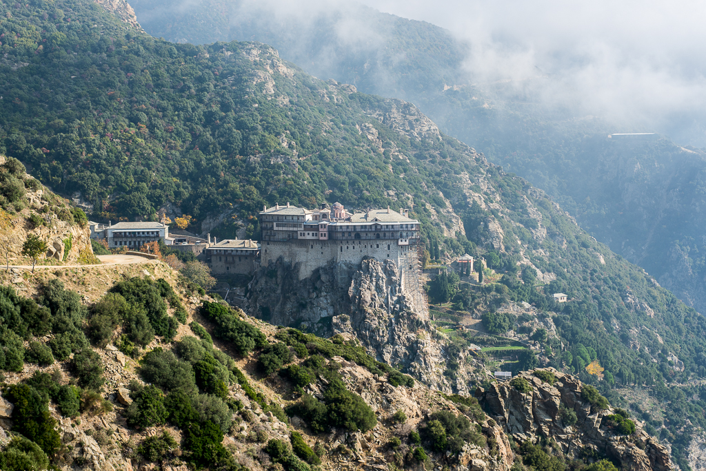 The mighty Simonopetra Monastery, the most impressive building on Mount Athos (Agios Oros). 330m above sea built on a single huge rock.
