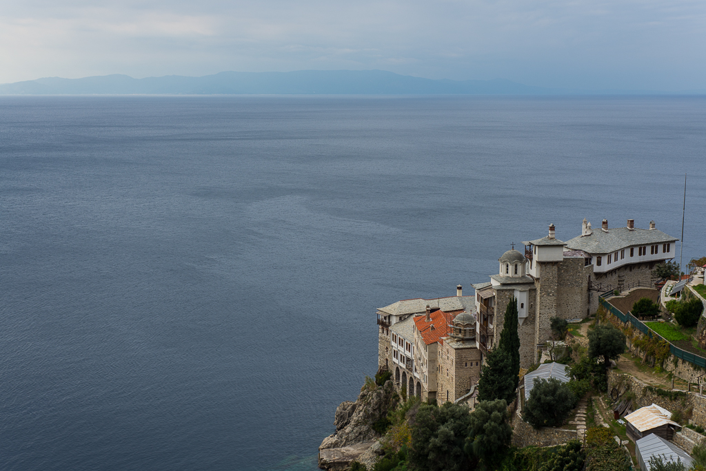 Grigoriou Monastery overlooking the second peninsula of Chalkidiki (Sithonia).