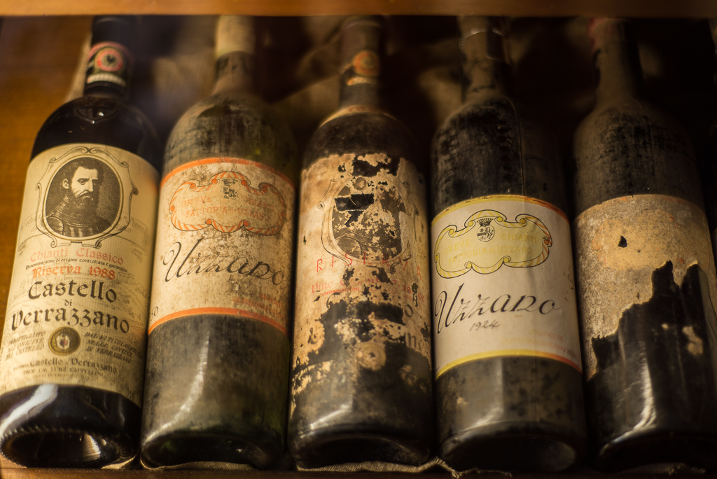 Old wine Bottles from the Castello di Verrazzano winery (http://www.verrazzano.com/en/), 26Km outside Florence.