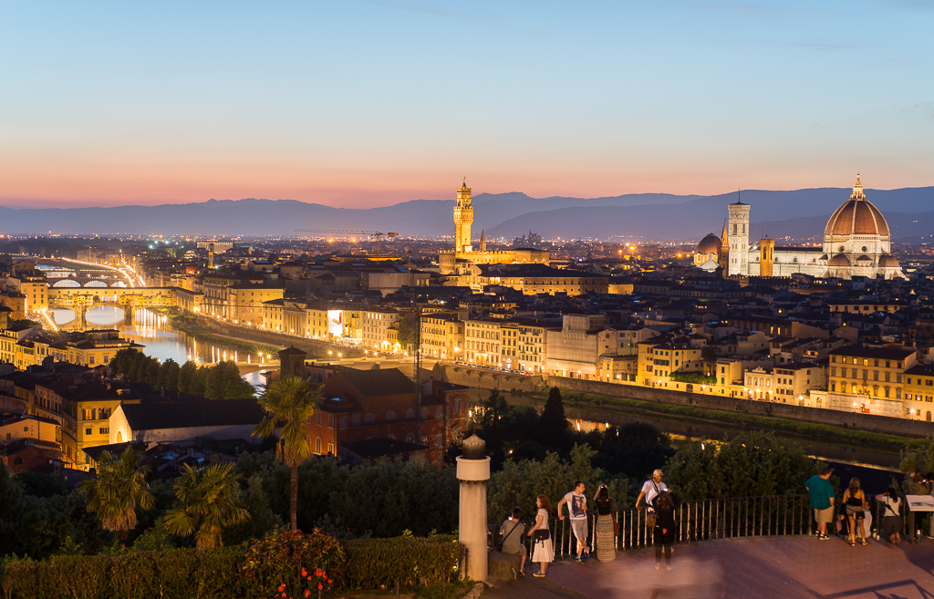 First night lights in Florence.