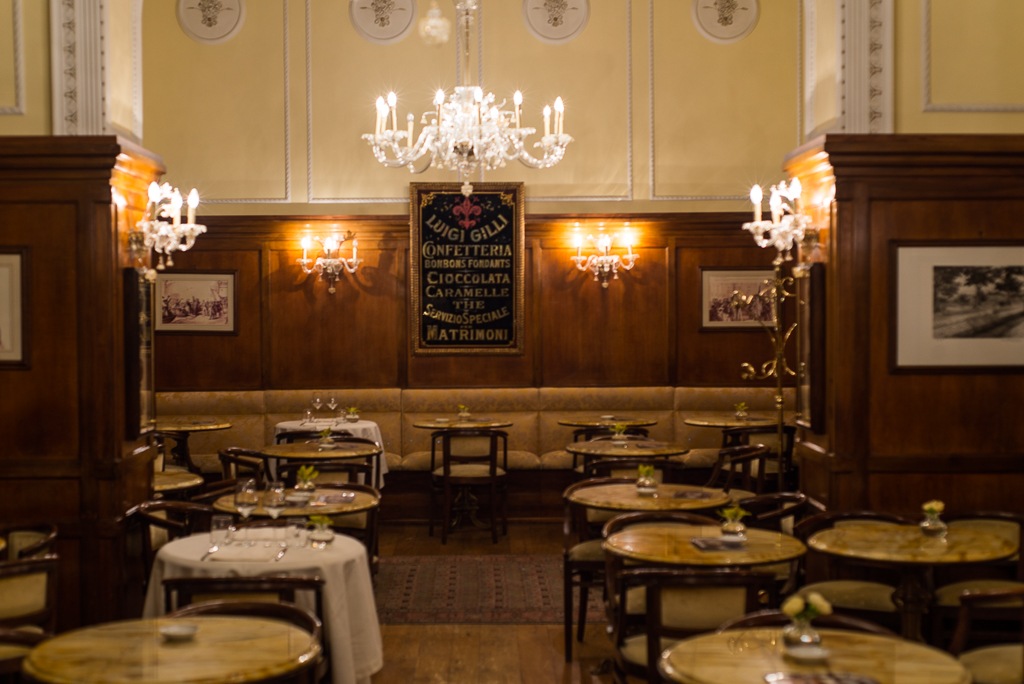 The iconinc Luigi Gilli cafe in the center of Florence since 1733.